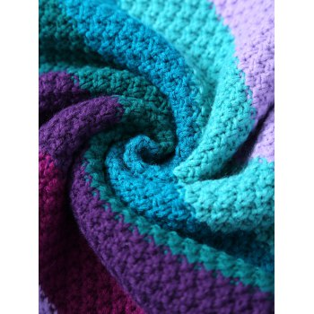 Knitted Colorful Stripe Pattern Mermaid Tail Blanket - COLORMIX