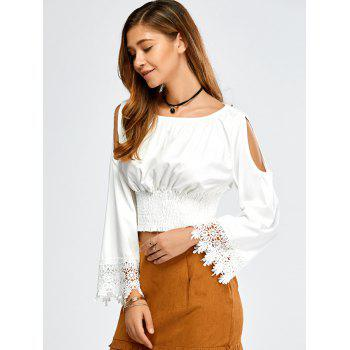 Flare Sleeve Cold Shoulder Crop Top