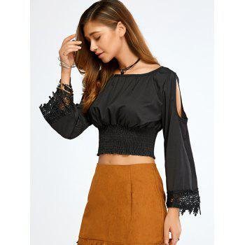 Flare Sleeve Ruffle Cold Shoulder Crop Top