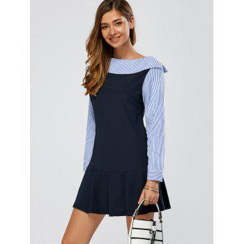 Stripe Splicing Long Sleeve Pleated Dress