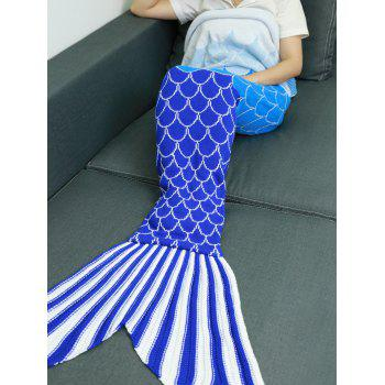 Soft Ombre Color Knitting Fish Scales Design Mermaid Tail Style Blanket - COLORMIX