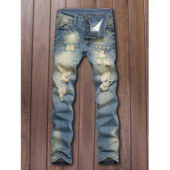 Zipper Fly Straight Leg Five-Pocket Ripped Jeans