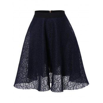 Lace High Waisted Flare Skirt