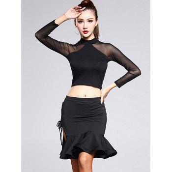 Mesh Spliced Sheer Top and Slit Mermaid Skirt Set