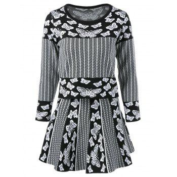 Butterfly Pullover Knitwear With Skirt