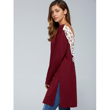 Cutwork Side Slit Backless T-shirt - Rouge vineux M