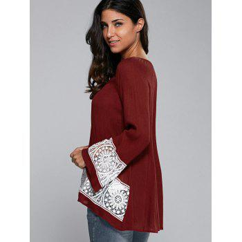 Buy Flare Sleeve Lace Insert Smock Blouse WINE RED
