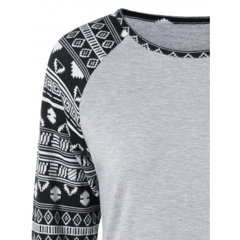 T-shirt Tribal Print Sleeve - Gris Clair M