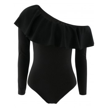 One Shoulder Long Sleeves Flounced Bodysuit