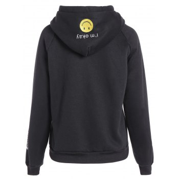 Embroidered Thickening Hoodie - BLACK BLACK