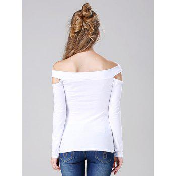 Off The Shoulder Cut Out T-Shirt - WHITE WHITE