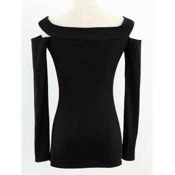 Off The Shoulder T-shirt Cut Out - Noir ONE SIZE