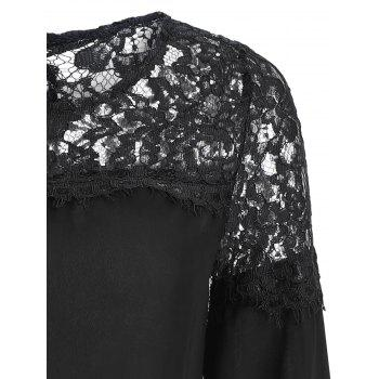Sheer Lace Yoke Blouse - Noir XL