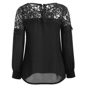 Sheer Lace Yoke Blouse - BLACK XL
