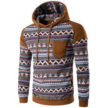 Hooded Pocket Raglan Sleeve Color Block Tribal Printed Hoodie