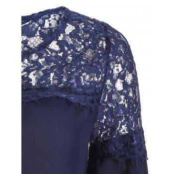 Sheer Lace Yoke Blouse - Bleu Cadette XL
