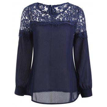 Sheer Lace Yoke Blouse - CADETBLUE M