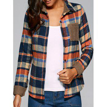 Pocket Design Plaid Velvet Lining Shirt