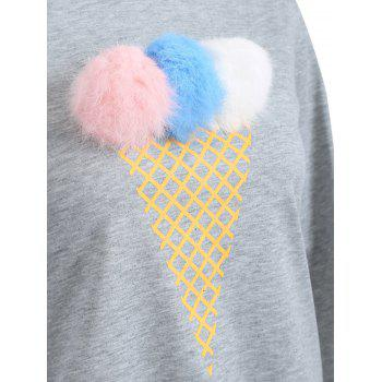 Crew Neck Pompom Sweatshirt - GRAY S