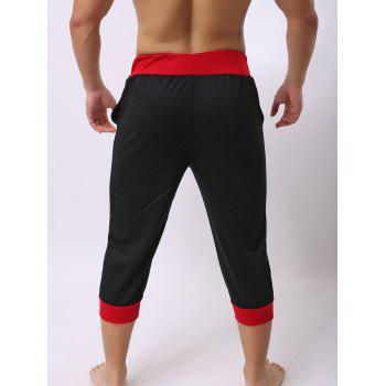 Lace-Up Color Block Spliced Letters Print Beam Feet Men's Jogger Shorts - RED/BLACK M