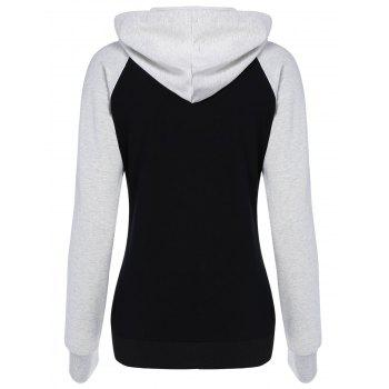 Raglan Sleeve Color Block Lip Print Hoodie - BLACK BLACK