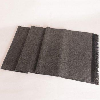 Fringed Edge Fleece Scarf -  GRAY