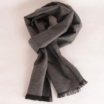 Fringed Edge Fleece Scarf - GRAY GRAY