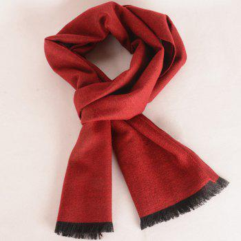 Fringed Edge Fleece Scarf - WINE RED WINE RED