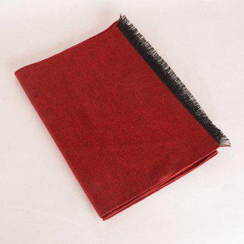 Fringed Edge Fleece Scarf -  WINE RED