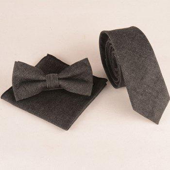 Formal Denim Tie Pocket Square and Bow Tie