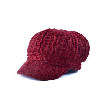 Outdoor Wavy Stripy Crochet Knit Newsboy Hat