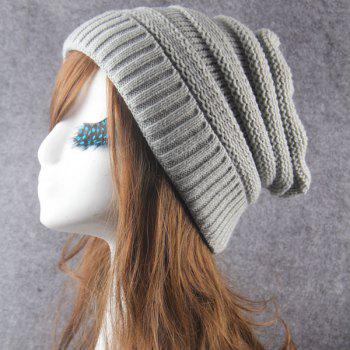 Stripy Crochet Flanging Knit Slouchy Hat