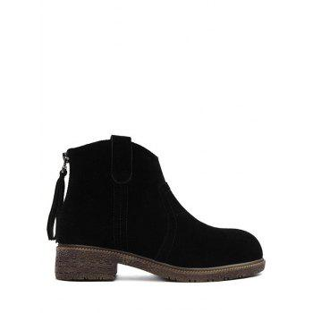 Dark Colour Suede Zipper Ankle Boots