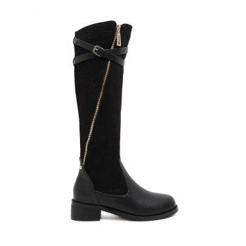 Buckle Splicing Cross Straps Boots