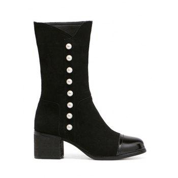 Splicing Flock Faux Pearls Mid-Calf Boots