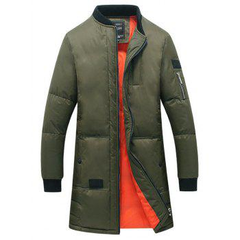 Rib Splicing Stand Collar Zip-Up Lengthen Cotton-Padded Coat
