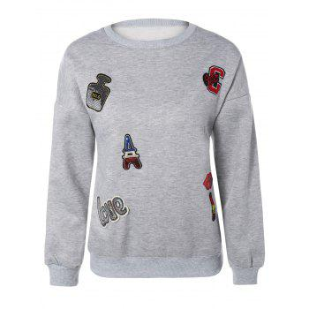 Drop Shoulder Sequins Applique Sweatshirt