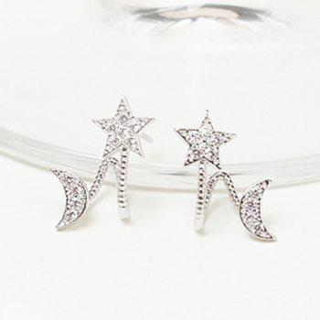 Rhinestone Moon Star Ear Cuffs
