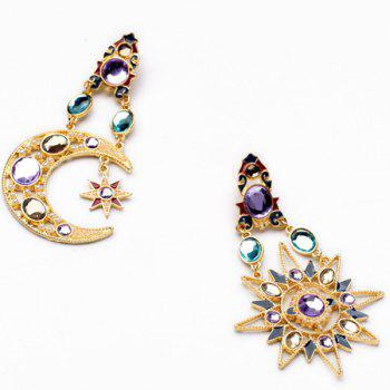 Rhinestone Asymmetric Sun Moon Earrings