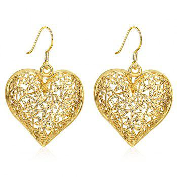 Filagree Flower Heart Drop Earrings