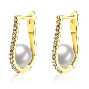 Artificial Pearl Rhinestone U-Shaped Earrings