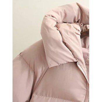 Hooded Double Pocket Down Coat - PINK M