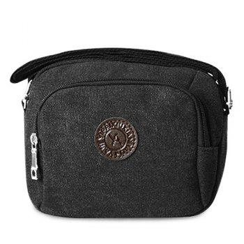 Zipper Dark Colour Canvas Crossbody Bag - BLACK BLACK