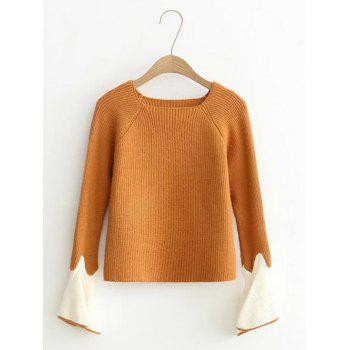 Flare Sleeve Short Color Block Knitwear