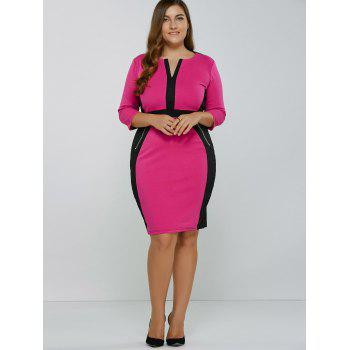Color Block Zipper Knee Length Bodycon Dress