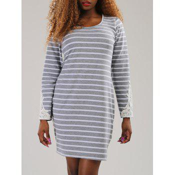 Buy Long Sleeve Lace Spliced Stripe Dress LIGHT GRAY
