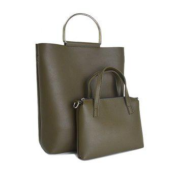 Metal Handle PU Leather Magnetic Tote Bag