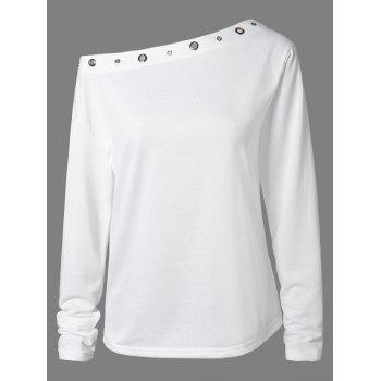 Hollow Out Rivet X-Long Sleeve T-Shirt - WHITE WHITE