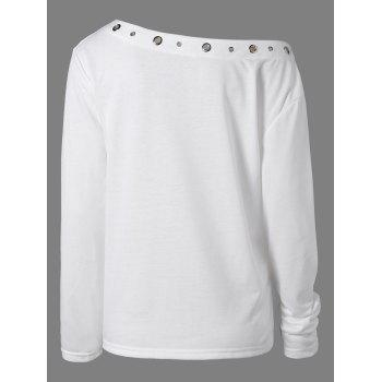 Hollow Out Rivet X-Long Sleeve T-Shirt - WHITE M