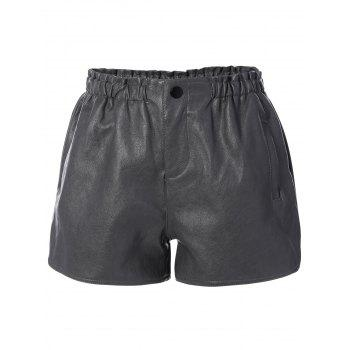 High Waist Faux Leather Shorts with Pocket
